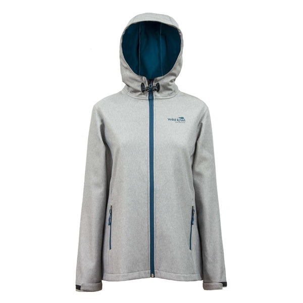 Women's Hooded Soft Shell Jacket. Grey Marle. Tech Shell. Wild Kiwi Clothing, New Zealand.wildkiwiclothing.co.nz