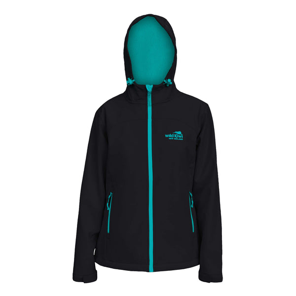 Women's Hooded Soft Shell Jacket, Black, Wild Kiwi Clothing, New Zealand.
