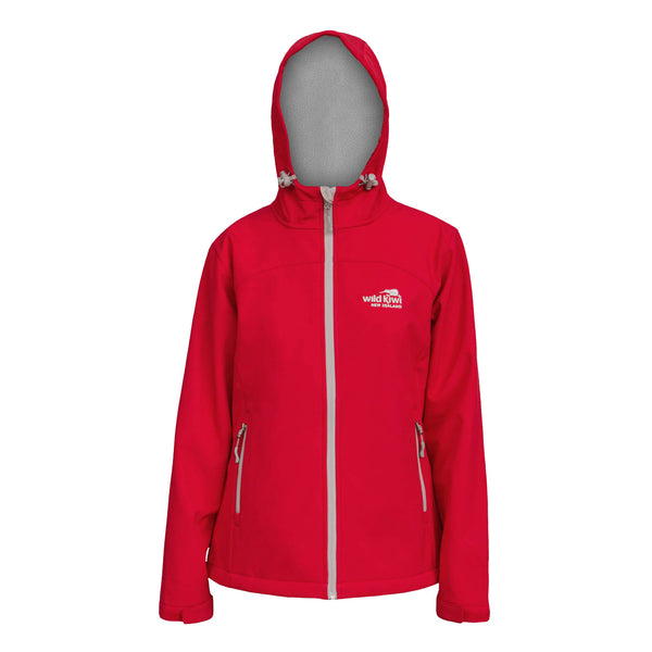 Women's Hooded Soft Shell Jacket, Red, Wild Kiwi Clothing, New Zealand.wildkiwiclothing.co.nz
