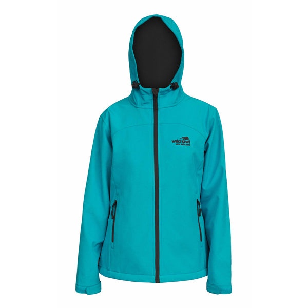 Women's Hooded Soft Shell Jacket, Aqua, Wild Kiwi Clothing, New Zealand.
