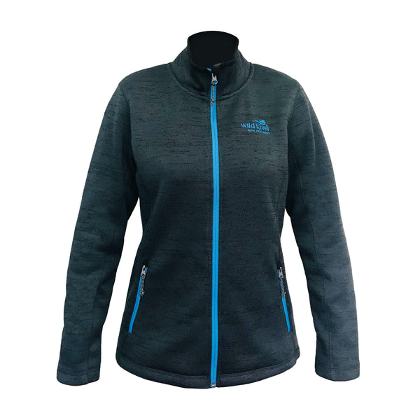 Women's grey knit fleece jacket. Wild Kiwi Clothing, New Zealand. wild-kiwi.co.nz