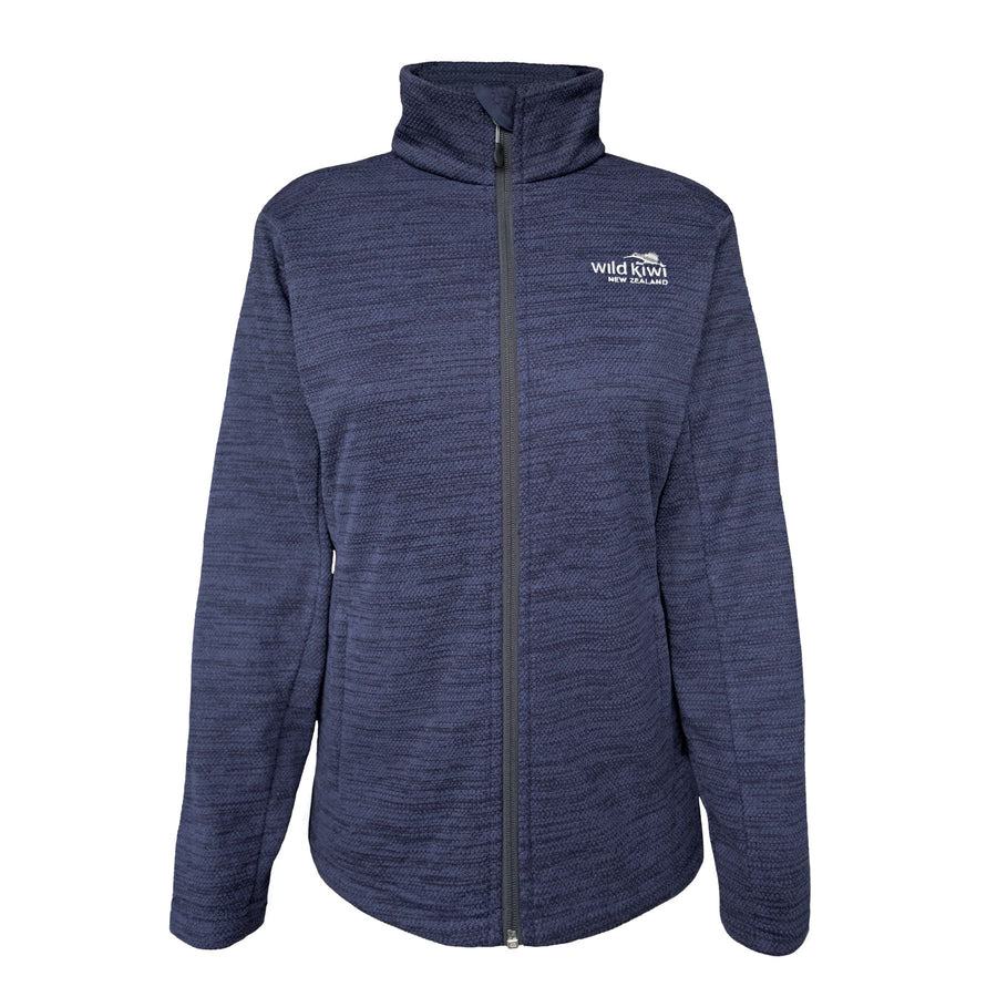 Women's navy fleece adventure jacket. Wild Kiwi New Zealand. www.wild-kiwi.co.nz