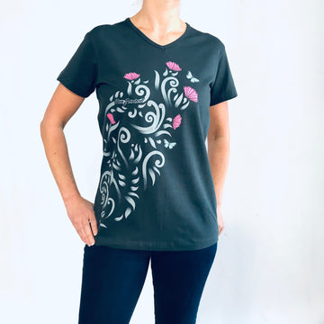 Women's printed V-neck T-Shirt with Pohutukawa flowers and butterflies. www.wild-kiwi.co.nz