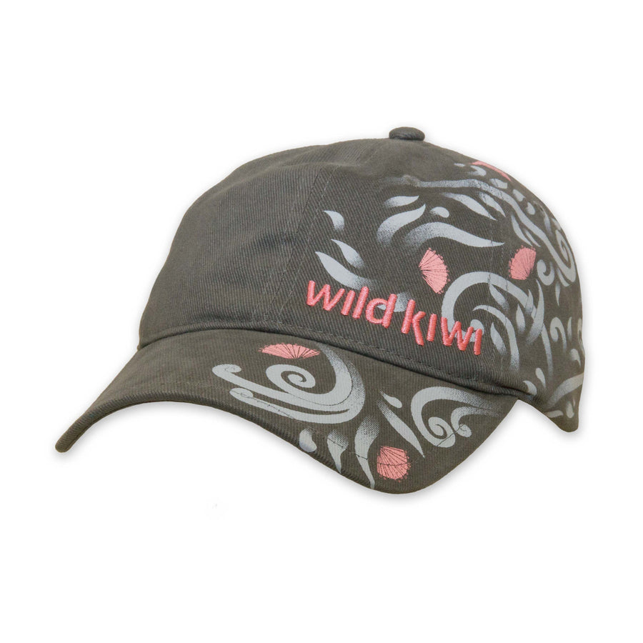 Pohutukawa Cap, light grey, Wild Kiwi Clothing, New Zealand. wildkiwiclothing.co.nz