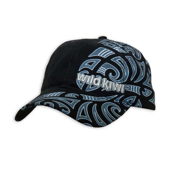 Black Cap. Maori design print. Wild Kiwi Clothing, New Zealand. wildkiwiclothing.co.nz