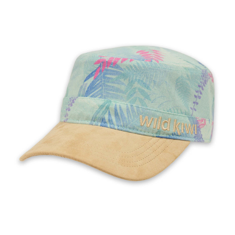 Fern print cap with faux suede peak. Wild Kiwi Clothing, New Zealand. wildkiwiclothing.co.nz