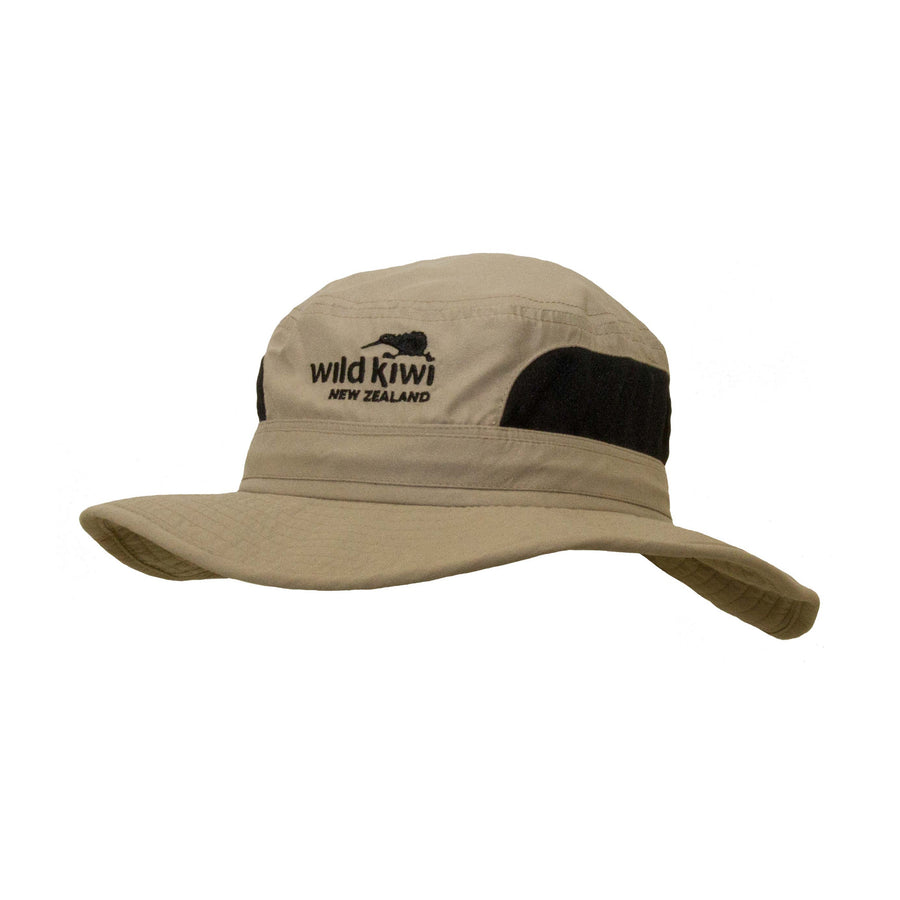 Brimmed Sun Hat with drawcord, sand, Wild Kiwi Clothing, New Zealand.