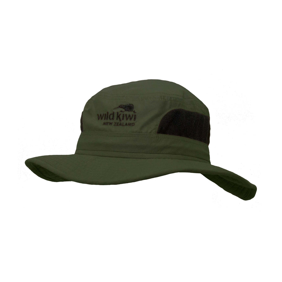 Brimmed Sun Hat with drawcord, khaki, Wild Kiwi Clothing, New Zealand.