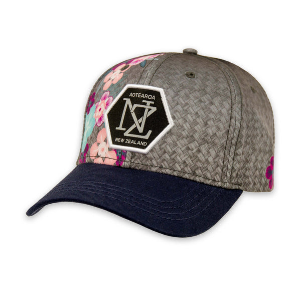 Manuka flower and woven flax print cap. Wild Kiwi Clothing, New Zealand. wildkiwiclothing.co.nz