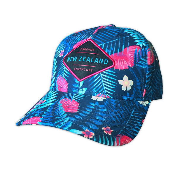 Ferns and flowers baseball cap. Designed in New Zealand. www.wild-kiwi.co.nz