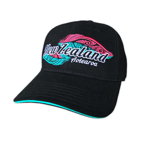 Embroidered feather baseball cap. Designed in New Zealand. www.wild-kiwi.co.nz
