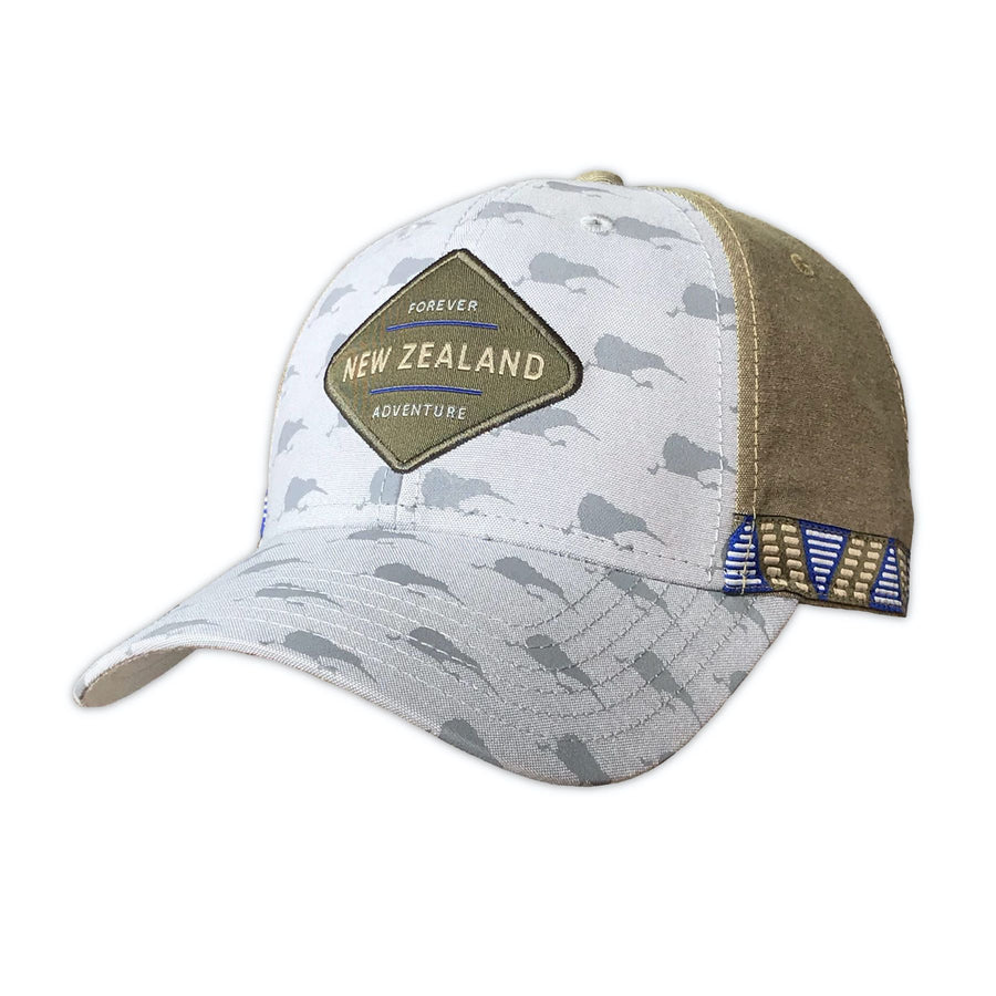 Grey and tan baseball cap with running kiwi print. Designed in New Zealand. www.wild-kiwi.co.nz