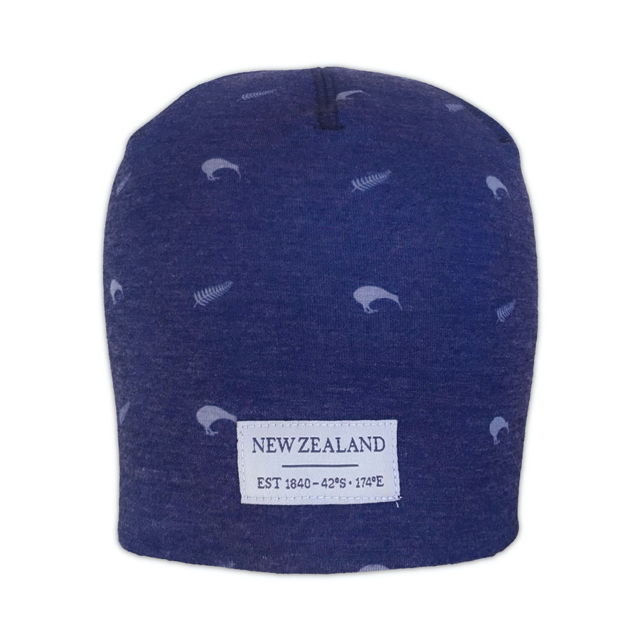 Blue beanie with New Zealand kiwi and Silver Fern design. www.wild-kiwi.co.nz