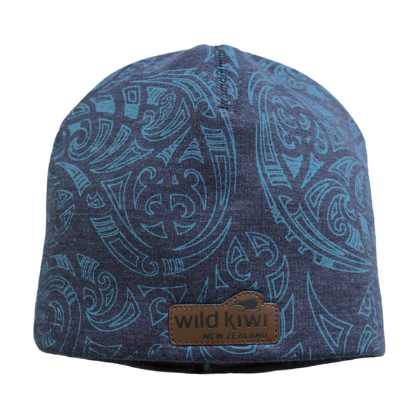 Blue Beanie with New Zealand Maori Kowhaiwhai design. wildkiwiclothing.co.nz
