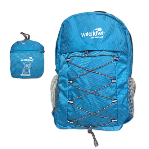 Blue Backpack. Packable daypack. Water resistant. New Zealand. www.wild-kiwi.co.nz