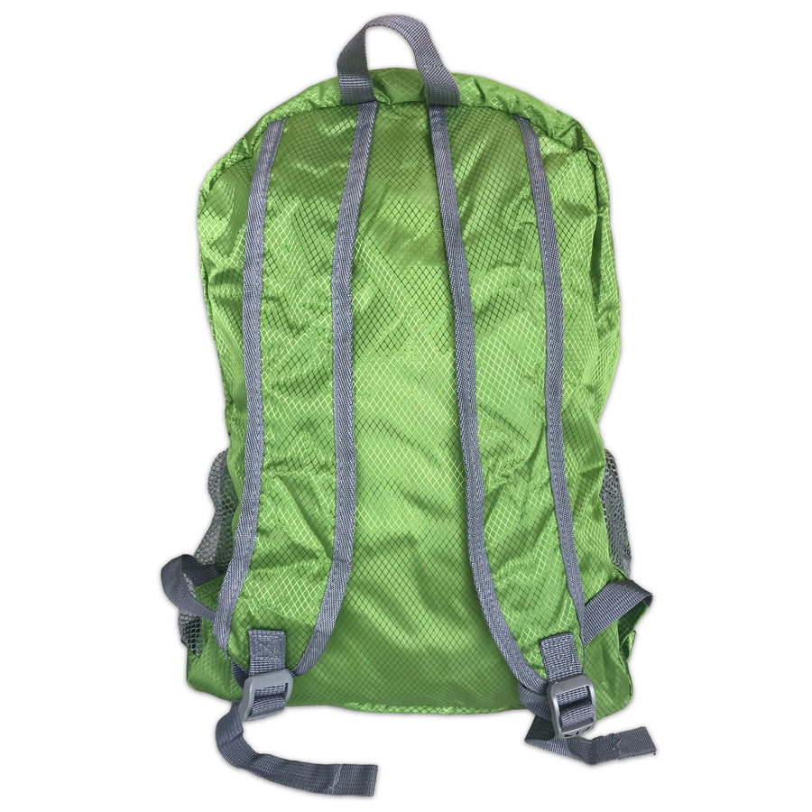 Green Backpack. Packable daypack. Water resistant. New Zealand. www.wild-kiwi.co.nz