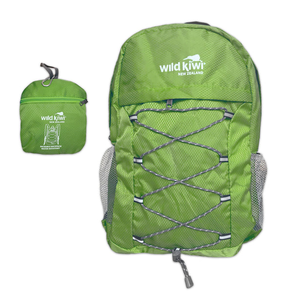 Citrus Green Backpack. Packable daypack. Water resistant. New Zealand. wildkiwiclothing.co.nz