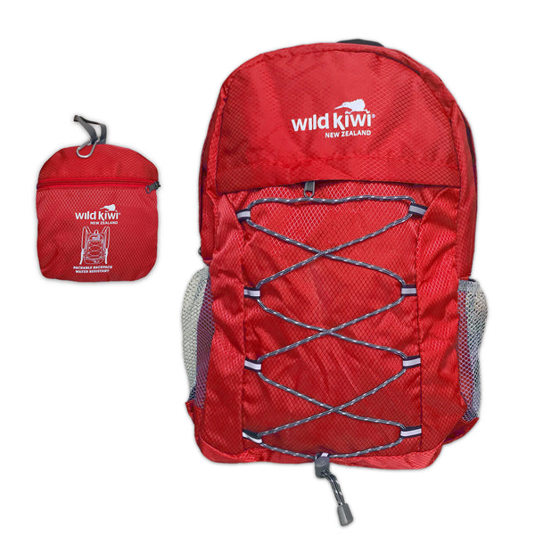Red Backpack. Packable daypack. Water resistant. New Zealand. www.wild-kiwi.co.nz