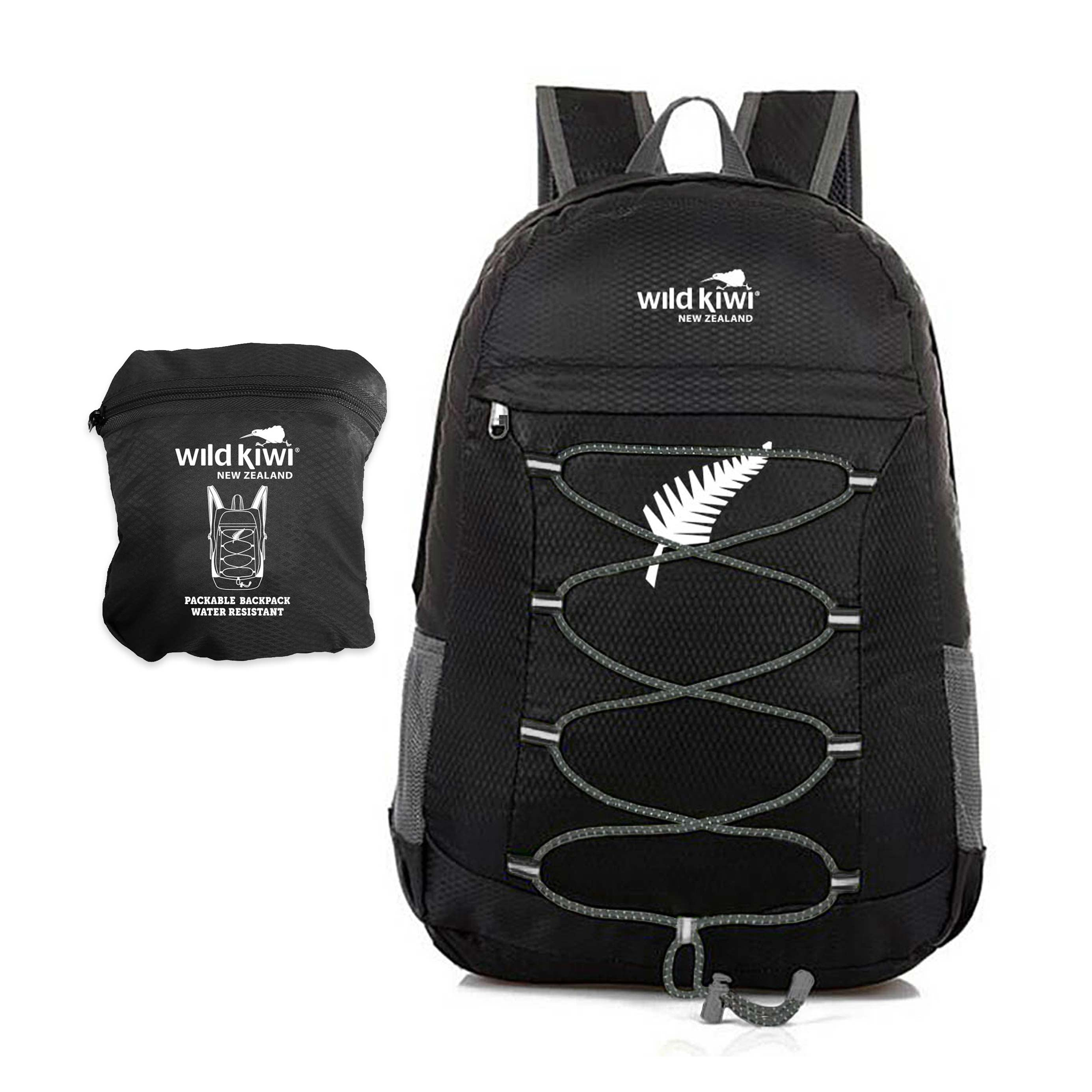 66323fbdc7a9 Black Backpack. Packable daypack. Water resistant. New Zealand.  wildkiwiclothing.co.
