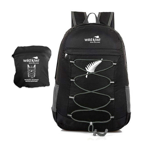 Black Backpack. Packable daypack. Water resistant. New Zealand. wildkiwiclothing.co.nz