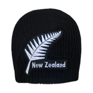 Black beanie with New Zealand Silver Fern embroidery. www.wild-kiwi.co.nz