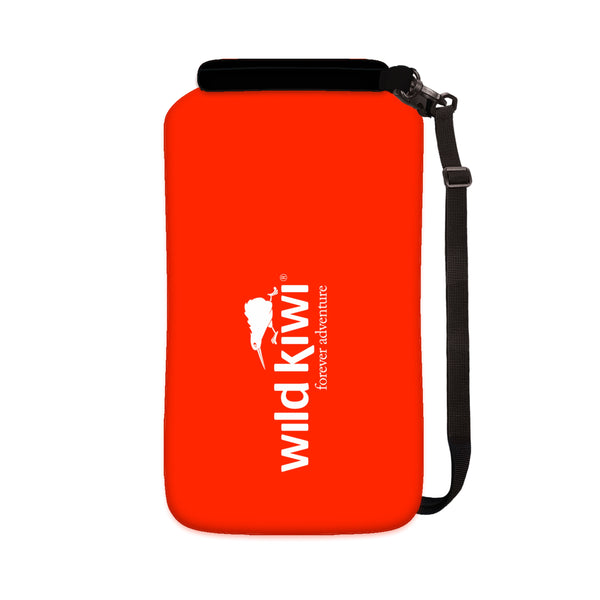 Red 10L Drybag. Waterproof, lightweight. With shoulder strap. wildkiwiclothing.co.nz.