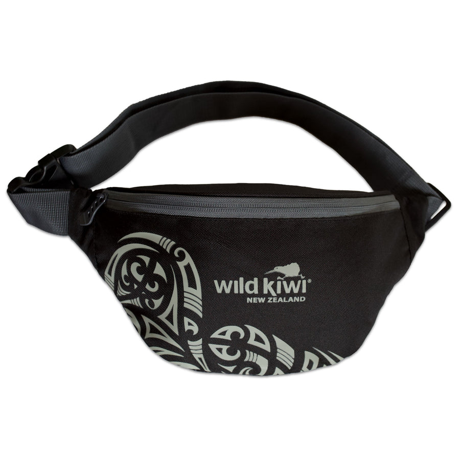 Black waist bag, bum bag, travel bag - New Zealand tattoo design. www.wild-kiwi.co.nz