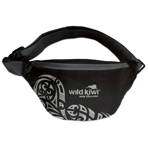 Waist Bag, bum bag, travel bag. Black, features New Zealand Maori design. wildkiwiclothing.co.nz.