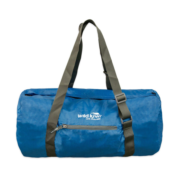 Packable blue cabin bag. Water resistant. wildkiwiclothing.co.nz.