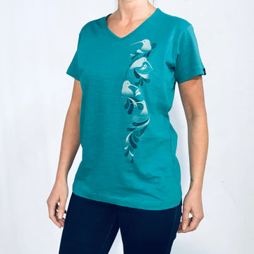 Women's V-neck Green T-Shirt. Kiwi print. Wild Kiwi Clothing, New Zealand. www.wild-kiwi.co.nz