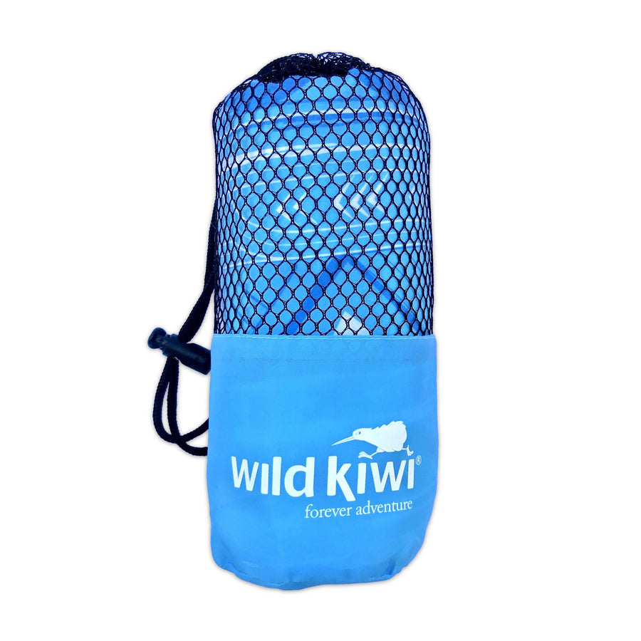 Blue tribal print travel towel. Packs away into small carry bag. www.wild-kiwi.co.nz.
