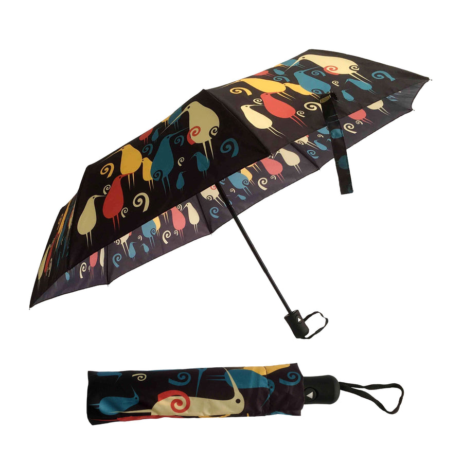 Foldable travel umbrella. New Zealand kiwi design. www.wild-kiwi.co.nz