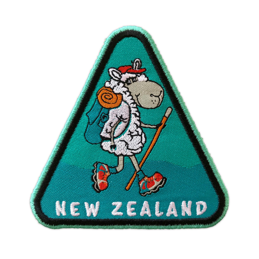 Iron on patches, set of 3. Sheep Hiker design. Wild Kiwi New Zealand