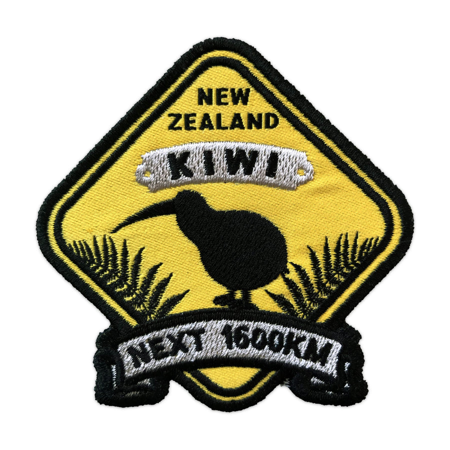 Iron on patches, set of 3. Kiwi Roadsign design. Wild Kiwi New Zealand