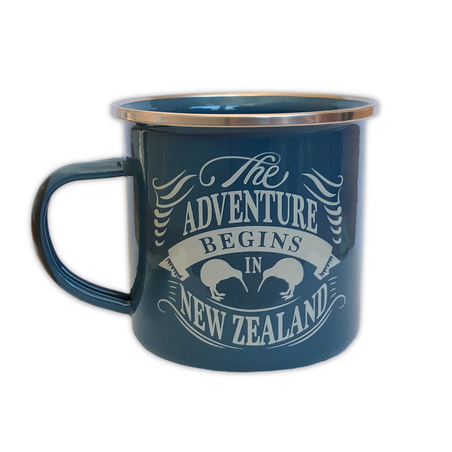 Enamel travel mug. Kombi design. Designed in New Zealand. www.wild-kiwi.co.nz