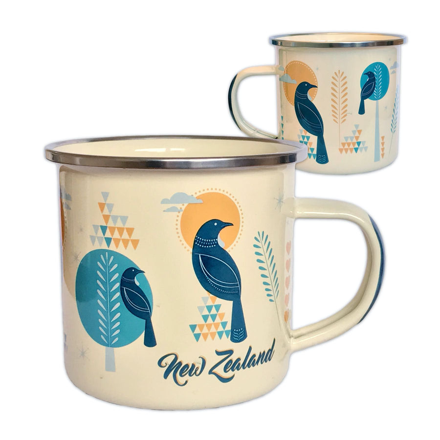 Enamel travel mug. Tui bird design. Designed in New Zealand. www.wild-kiwi.co.nz