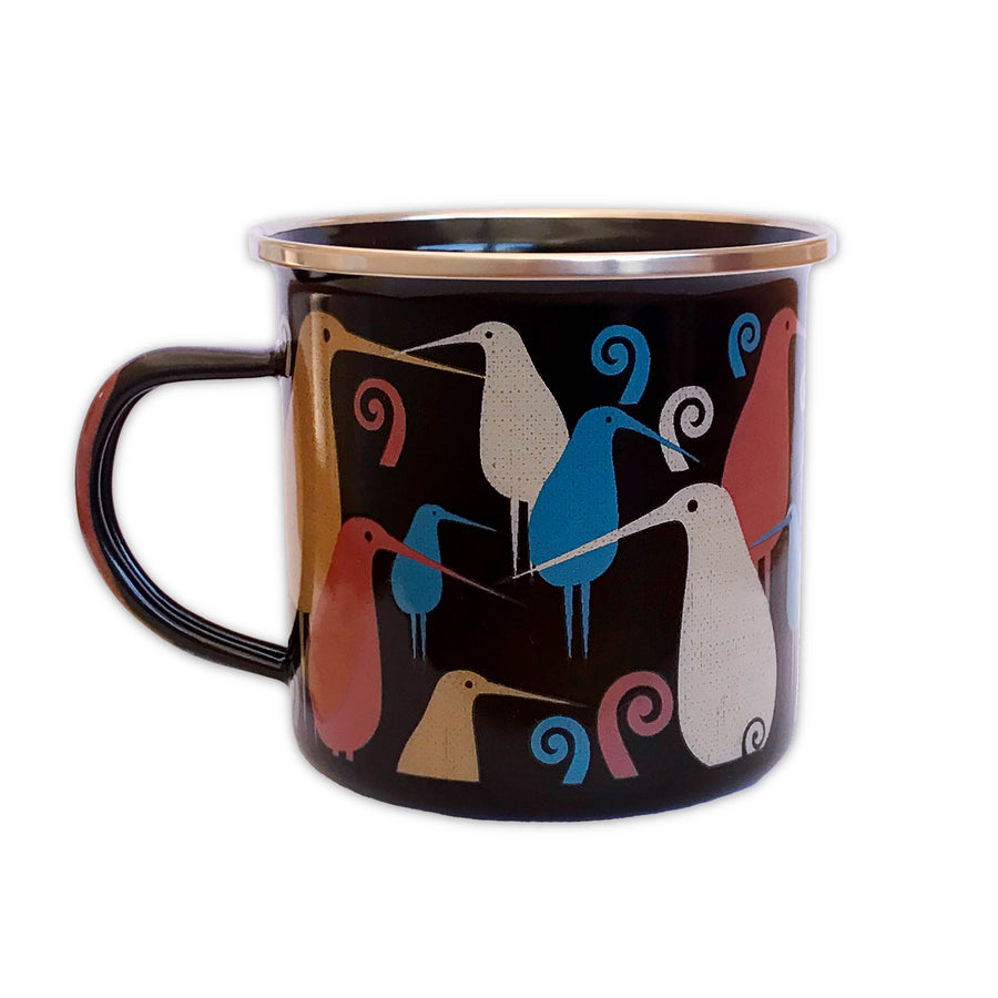 Black enamel travel mug. Kiwi bird design. Designed in New Zealand. www.wild-kiwi.co.nz