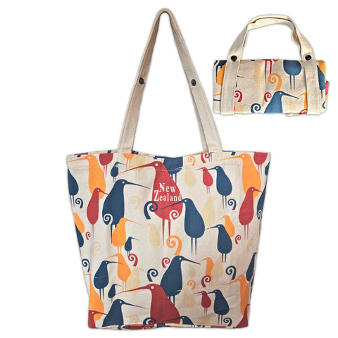 Printed canvas foldable tote bag. Kiwi bird design. www.wild-kiwi.co.nz
