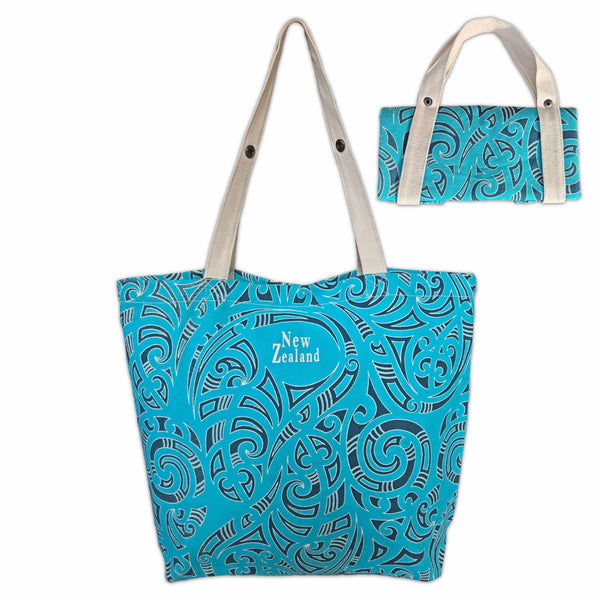 Blue printed canvas foldable tote bag. Kowhaiwhai design. www.wild-kiwi.co.nz
