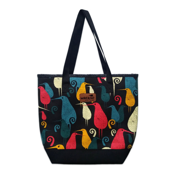 Printed beach bag, shopping bag with colourful New Zealand kiwi bird design. wildkiwiclothing.co.nz.