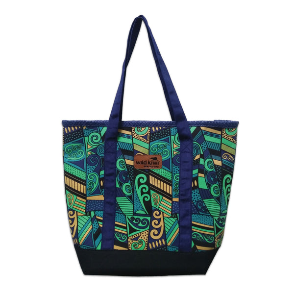 Printed beach bag, shopping bag with colourful New Zealand koru design. wildkiwiclothing.co.nz.