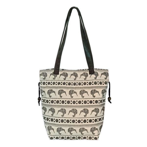 Printed canvas shopper bag. Mosaic kiwi design. www.wild-kiwi.co.nz
