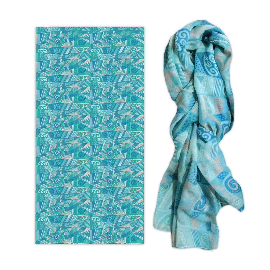 Printed koru design scarf. Wild Kiwi New Zealand. www.wild-kiwi.co.nz