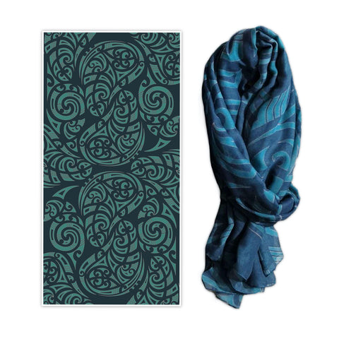 Printed Kowhaiwhai design scarf. Wild Kiwi New Zealand. www.wild-kiwi.co.nz