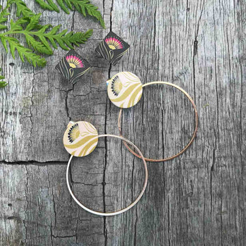 Earring set, stud and hoop. Pohutukawa flower. Designed in New Zealand.
