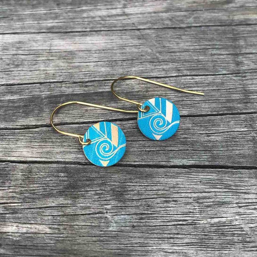 Turquoise blue Art Deco fan and hook earring set. Tribal Earth New Zealand
