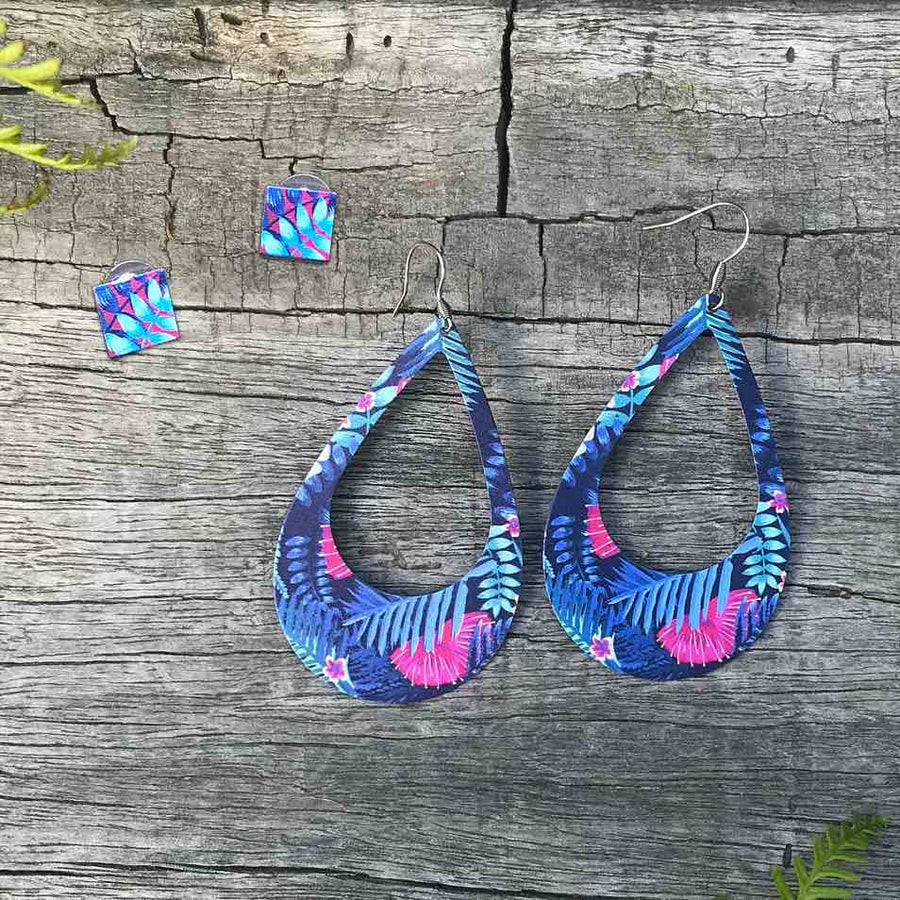 Square stud and oval drop earring set. Blue and pink Tropical ferns. Designed in New Zealand.