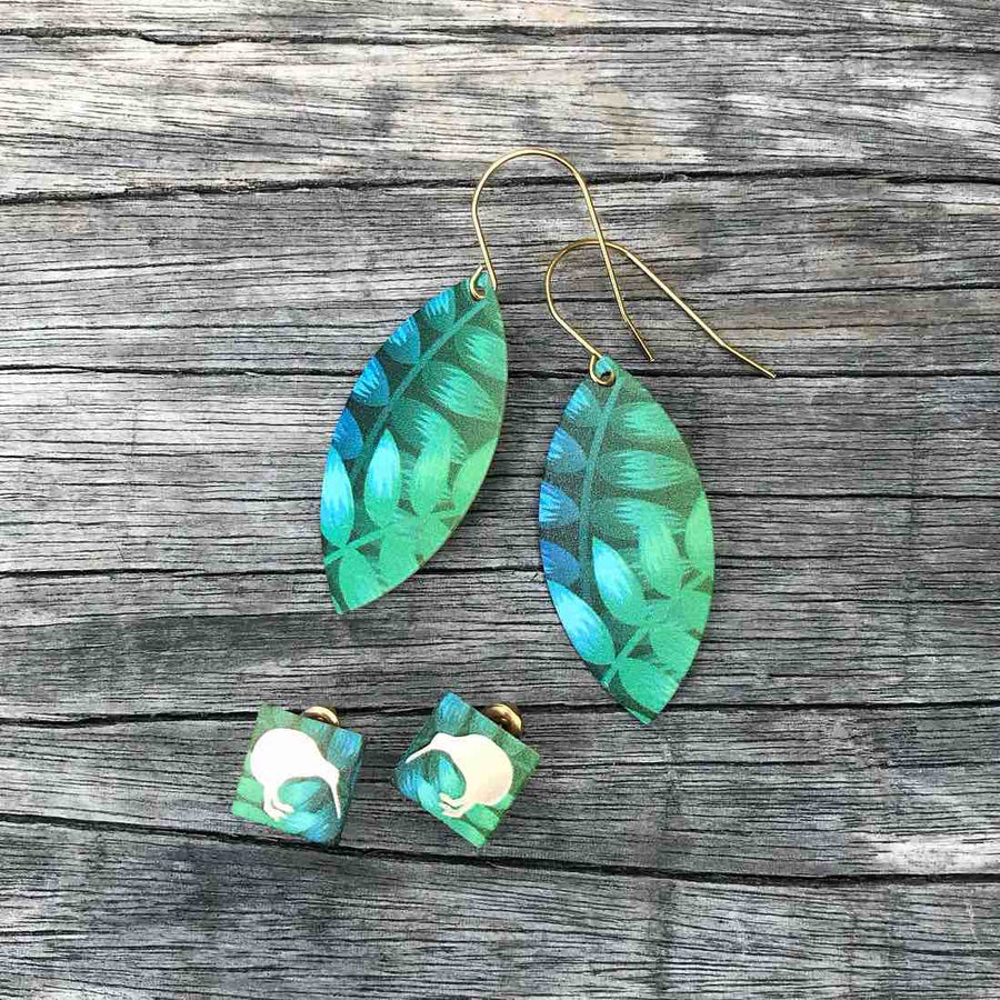 Green leaf teardrop and square stud earring set. Tribal Earth New Zealand