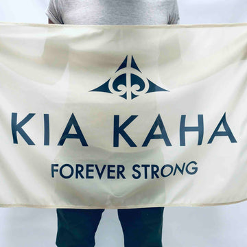 Beige Flag with Kia Kaha Forever Strong print