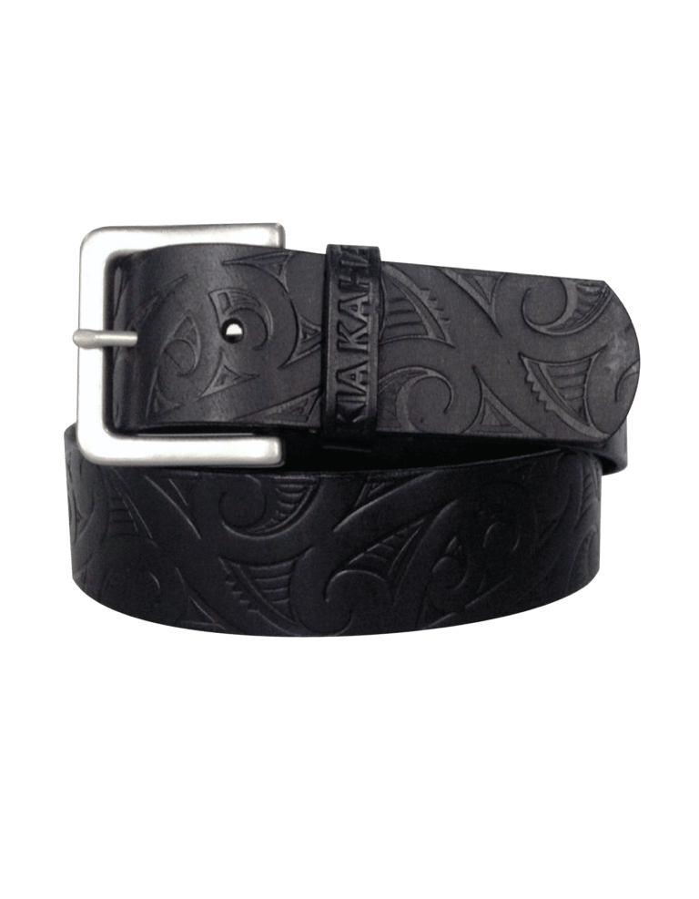 Men's embossed black leather belt. www.kiakaha.co.nz